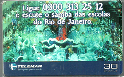 23136 MG 02/00 Ligue e escute o samba das escolas do RJ P0096 T160.000 CSM 30c